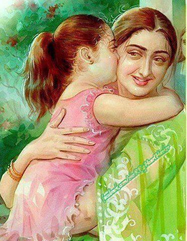 kid hugging mother