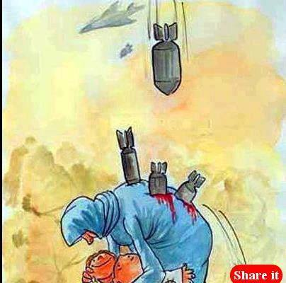 Mom saving child from bombs